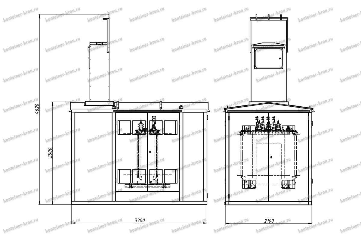 Чертеж комплектной трансформаторной подстанции КТПН-1000-6-0,4